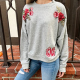 Monogram Rose Embroidered Sweatshirt
