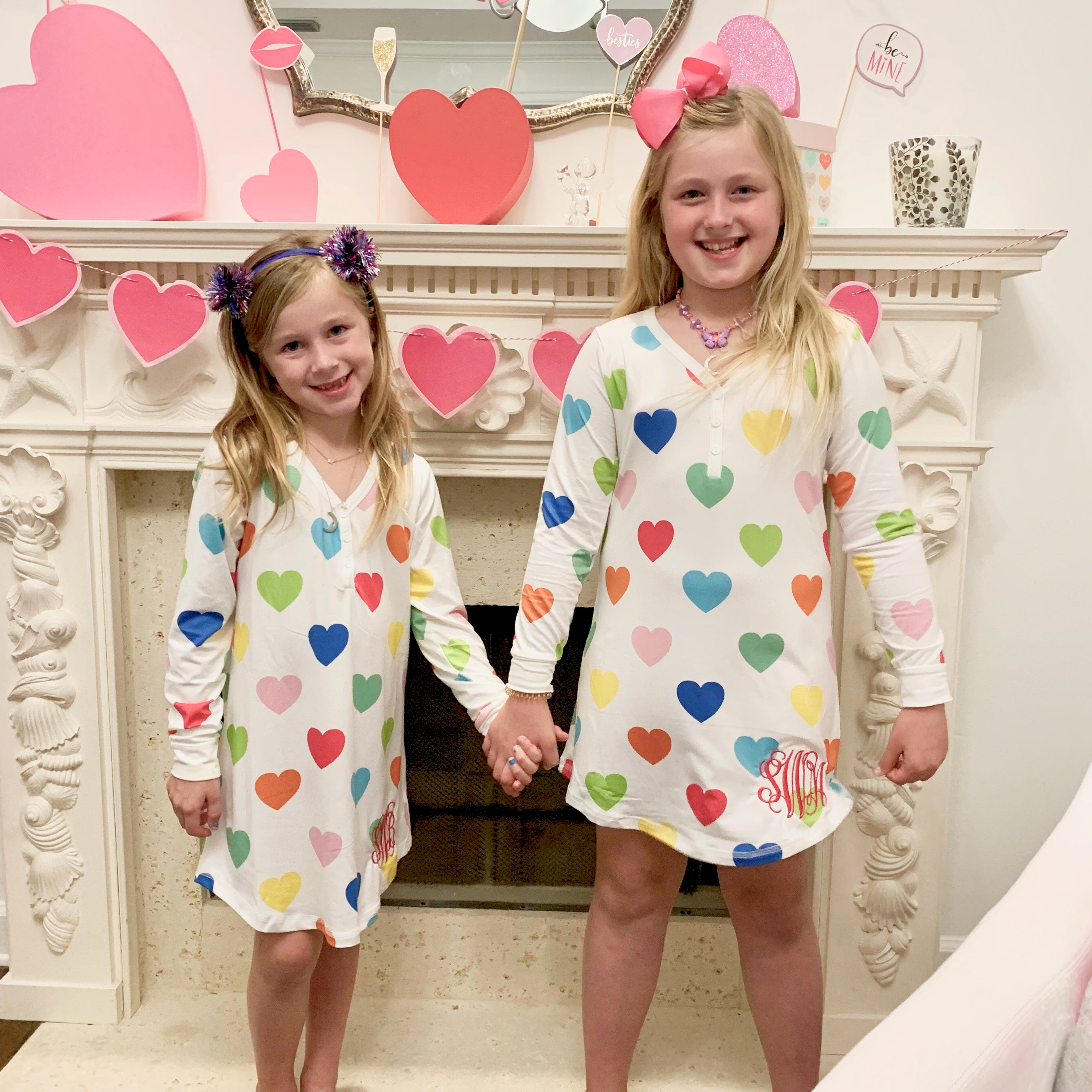 Monogram Girls Rainbow Heart Nightgown