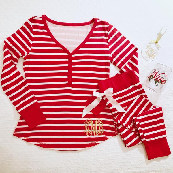 Monogram Red Striped Pajama Set