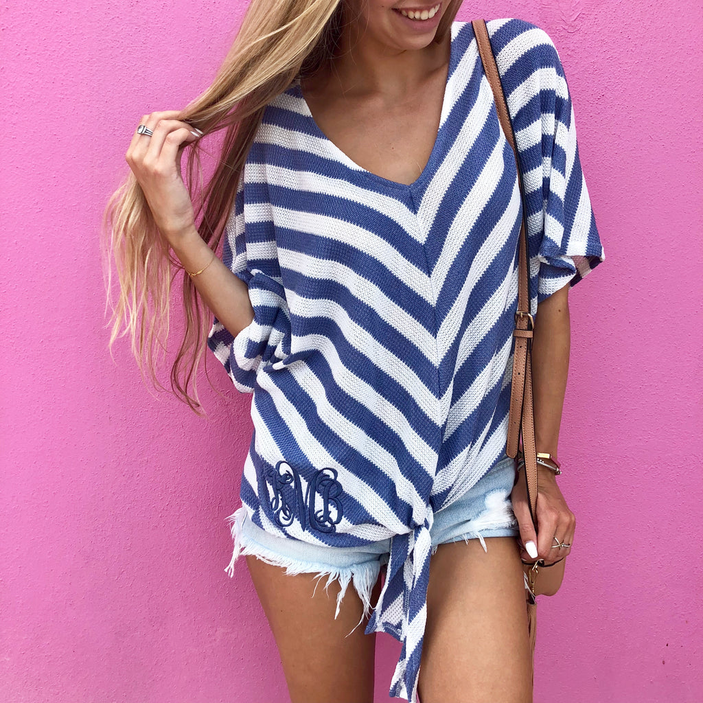 Monogram Striped Tie Top