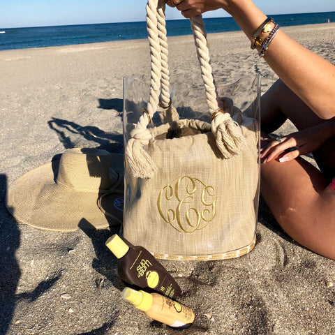 Monogram Tortola Straw Bag
