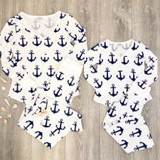 Girls Anchor Pajama Set