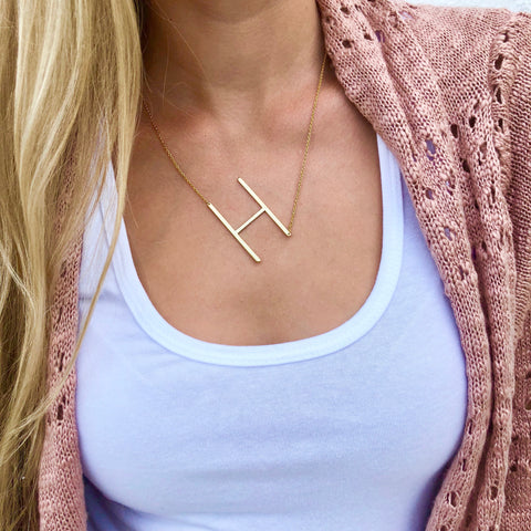Asymmetrical Script Initial Necklace
