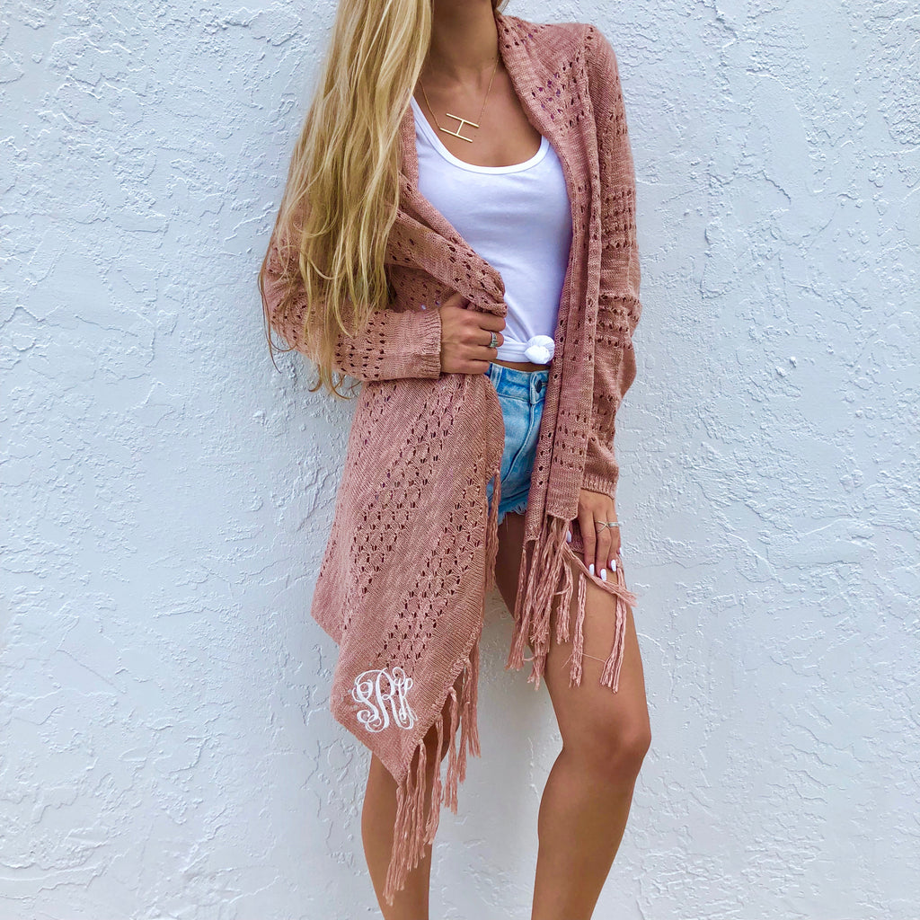 Monogram Blush Fringe Cardigan