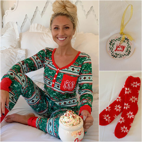 Monogram Red Wine Pajama Set