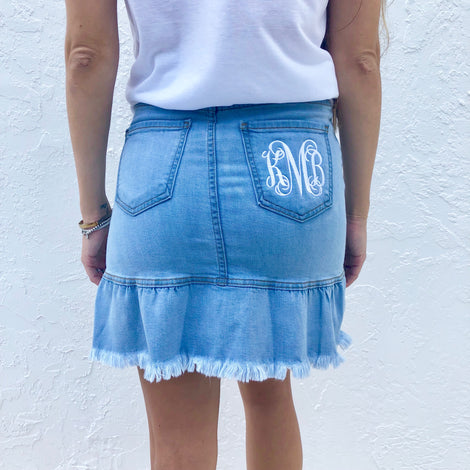 Monogram Ruffle Denim Skirt