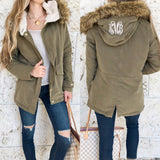 Monogram Faux Fur Hooded Jacket