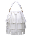 White Fringe Bucket Bag