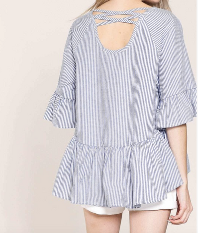 Monogram Striped Ruffle Top