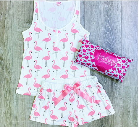 Monogram Flamingo Pajama Shorts Set