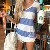 Monogram Bermuda Striped V-Neck Tee