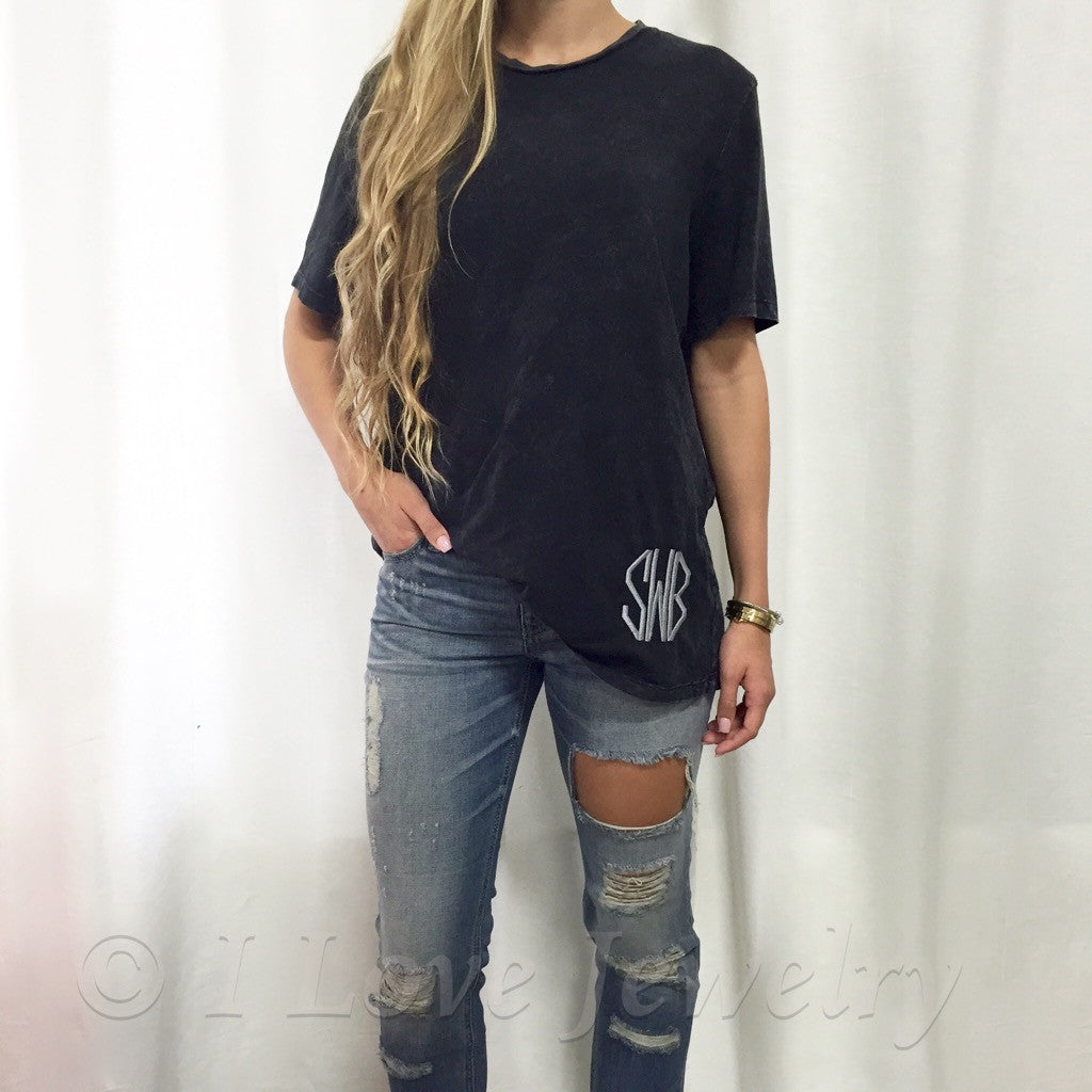 Monogram Black Wash Relaxed Fit Tee