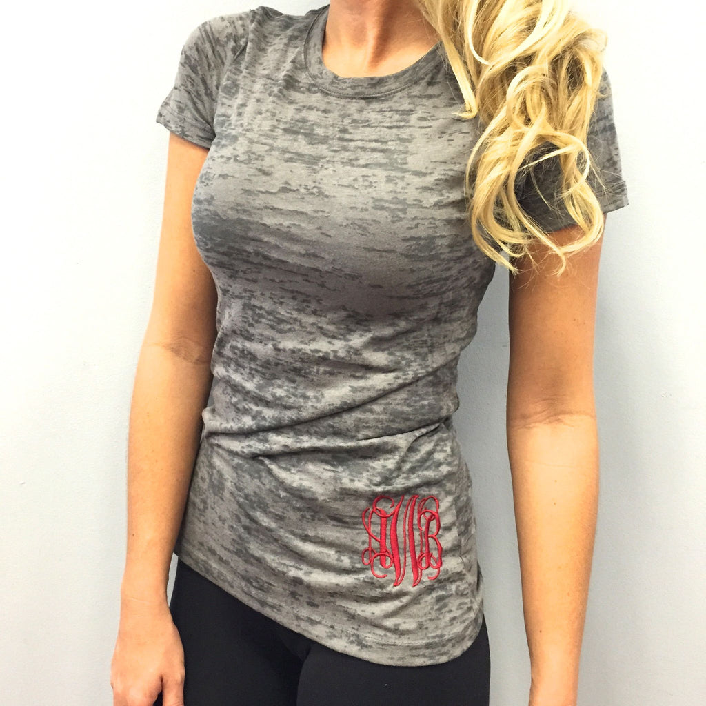 Monogram Gray Burn Out T-Shirt with Red