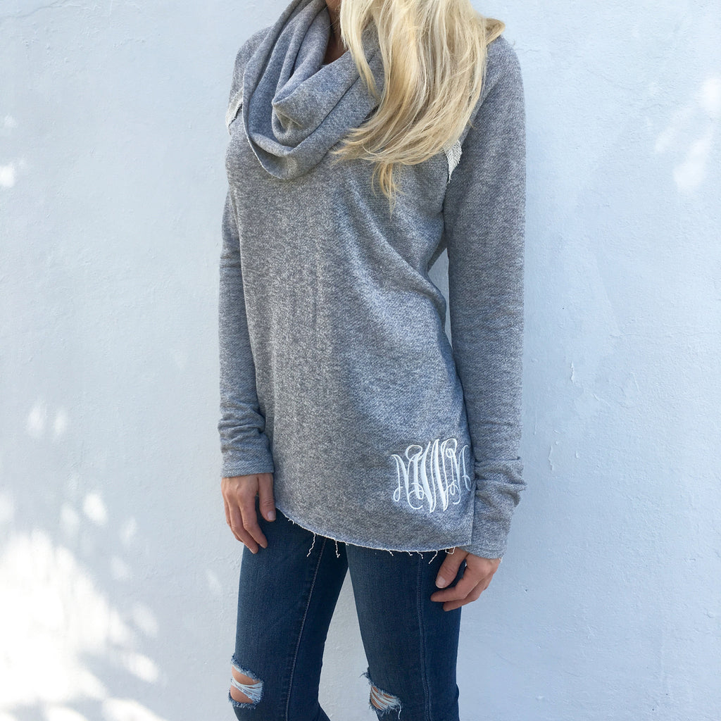 Monogram Cowl Neck Sweater