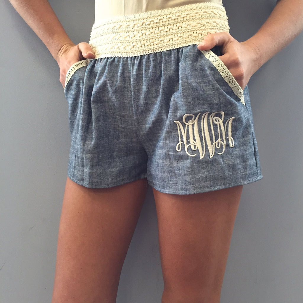 Monogram Crochet Trim Denim Shorts