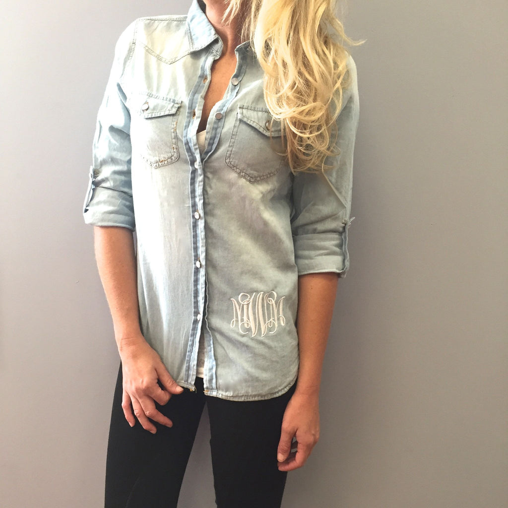Monogram Denim Button Down Shirt