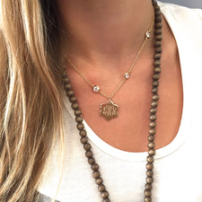 Monogram Disc Pendant Necklace - 2 Inch