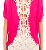 Monogram Lace Crochet Back Top - Short Sleeve