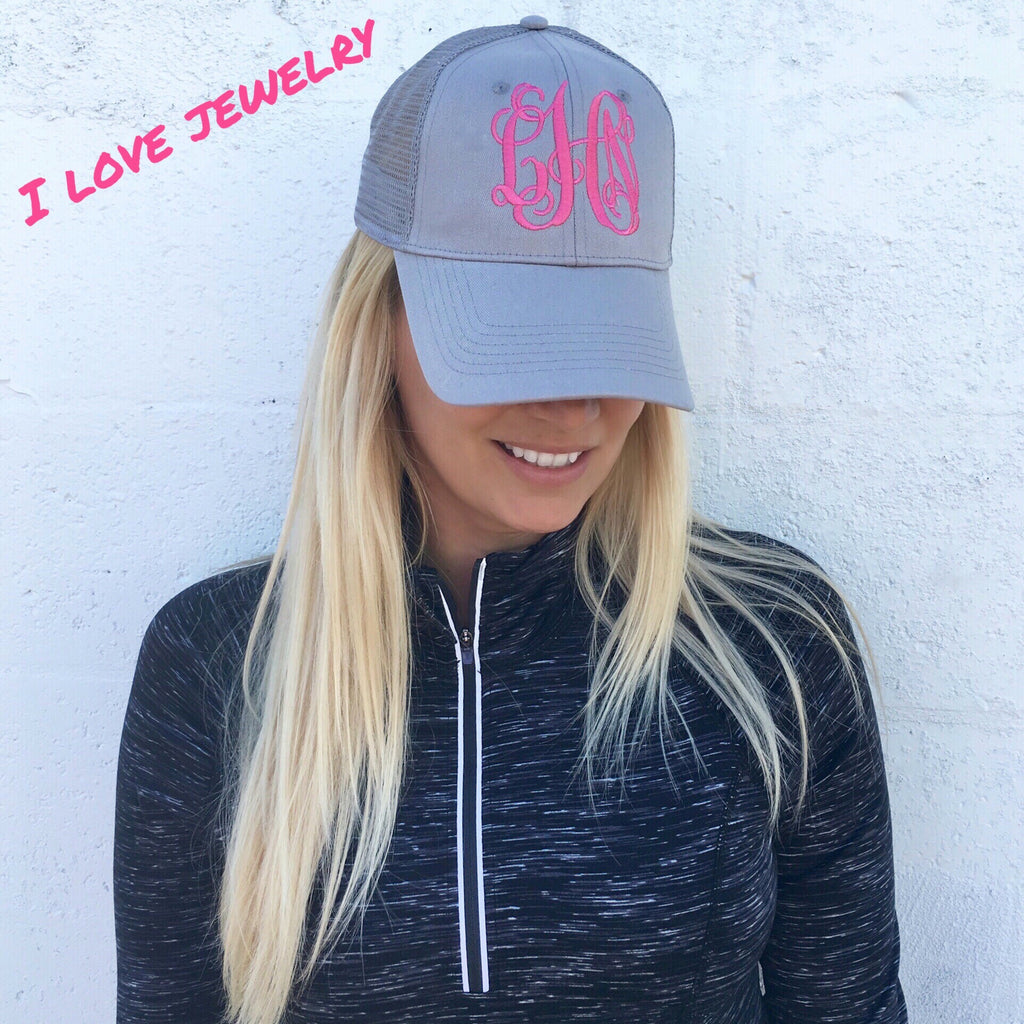 Monogram Gia Gray & Pink Hat