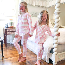 Monogram Girls Pink Striped Pajama Set