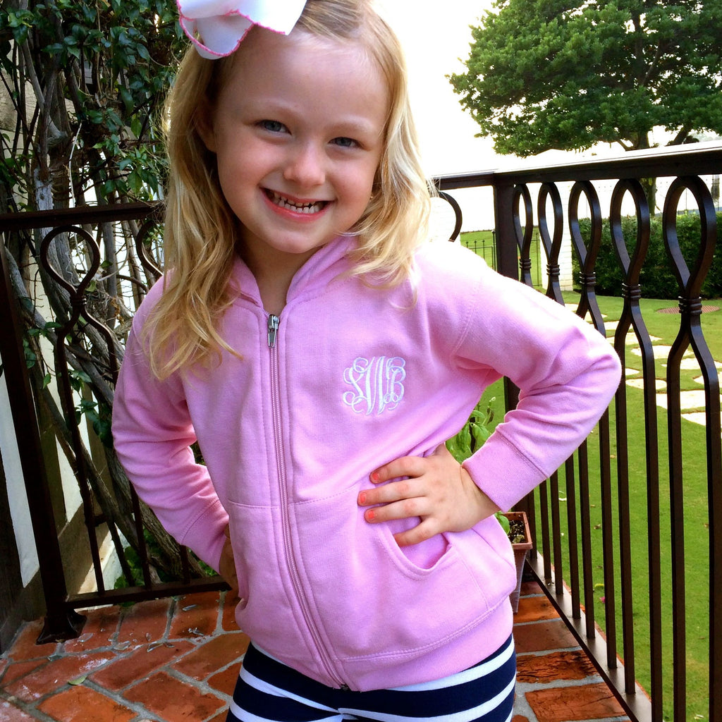 Little Girl Monogram Pink Zip-Up Sweatshirt