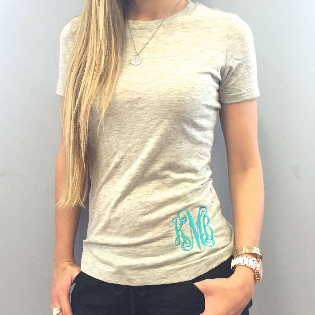 Monogram Light Gray with Turquoise T-Shirt