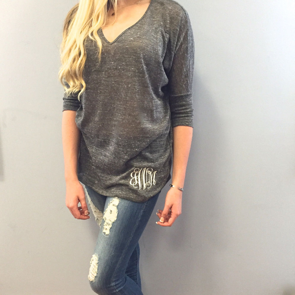 Monogram Gray Marbled V-Neck