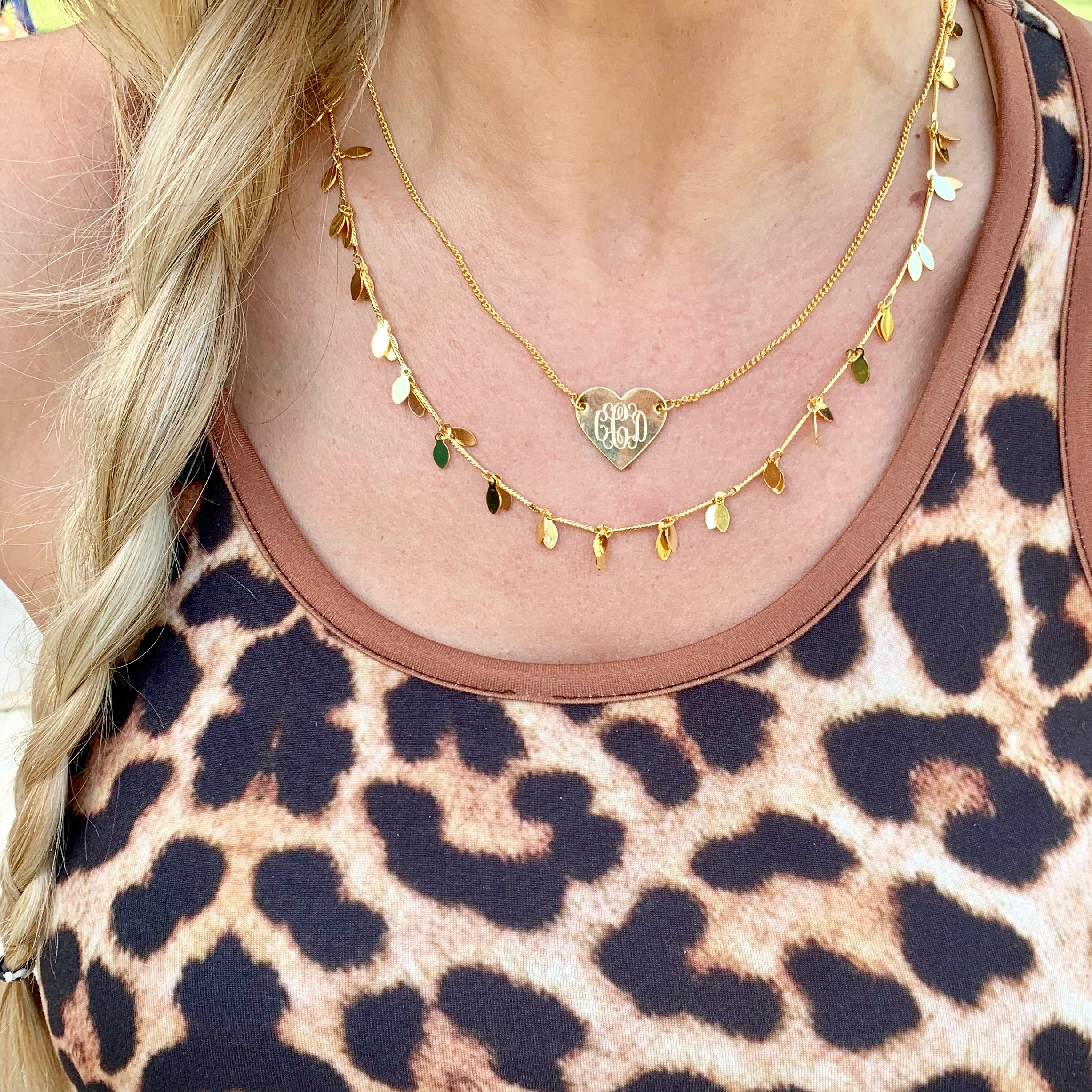 Monogram Heart Layered Necklace