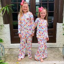 Monogram Girls Sweetheart Pajama Set