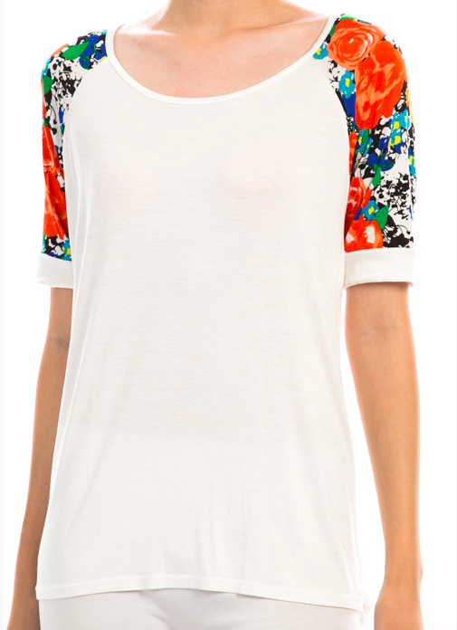 Monogram Floral Sleeve Top