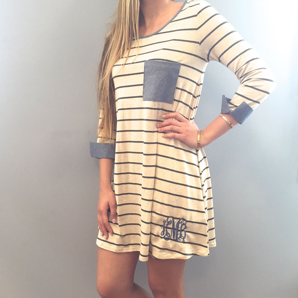 Monogram Striped Dress with Denim Pocket and Cuffs