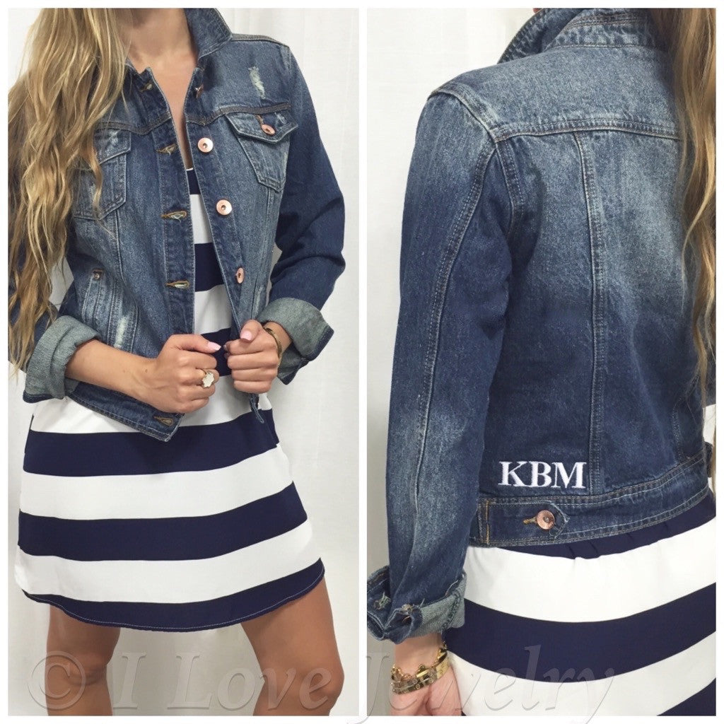 Monogram Distressed Denim Jean Jacket