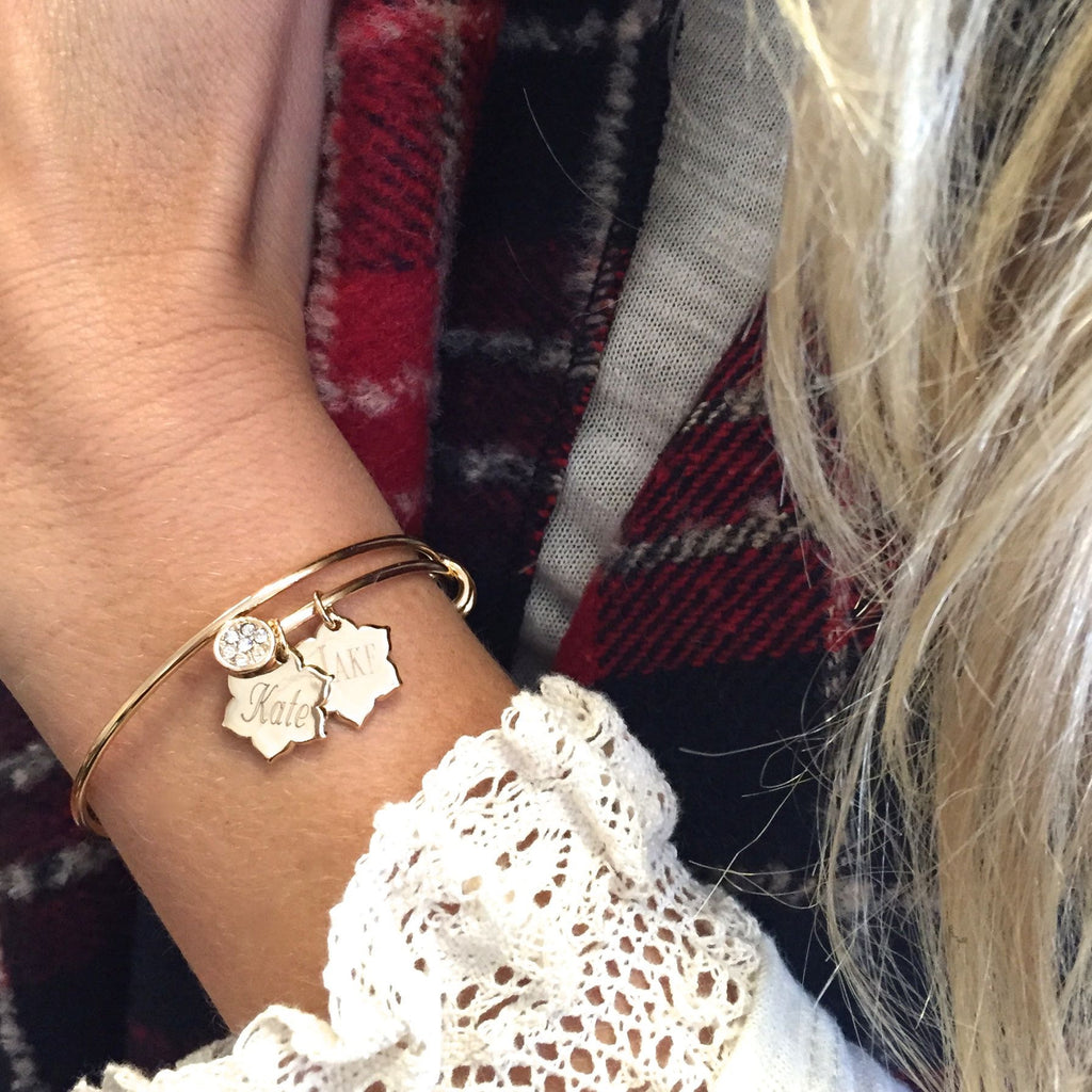Magnolia Little Charm Bangle Bracelet