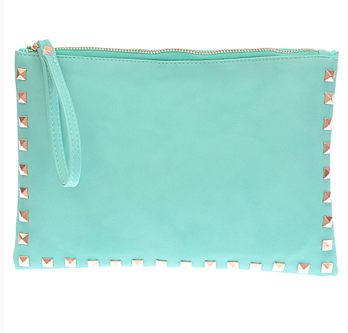 Monogram Studded Envelope Clutch