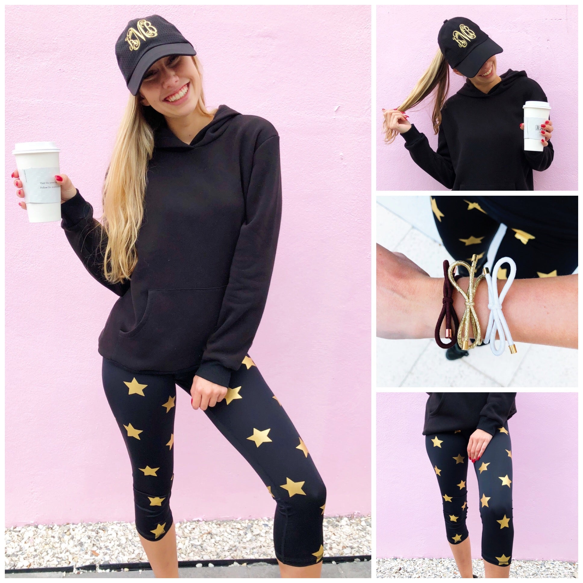 Black & Gold Monogram Hat + Star Leggings