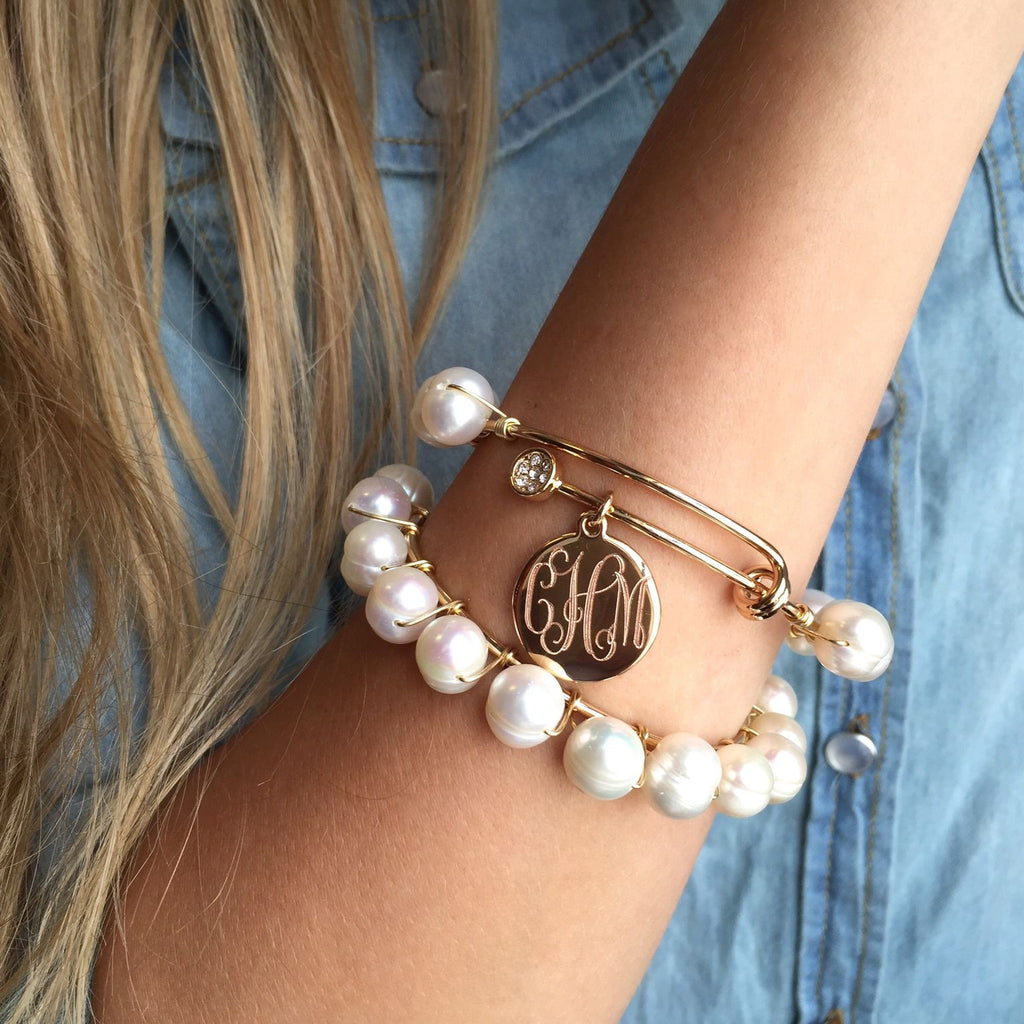 monogram pearl wrapped adjustable bangle bracelet  u2013 i love jewelry