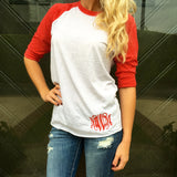 Monogram Red Baseball Tee