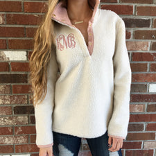 Monogram Blush Trim Sherpa Vest