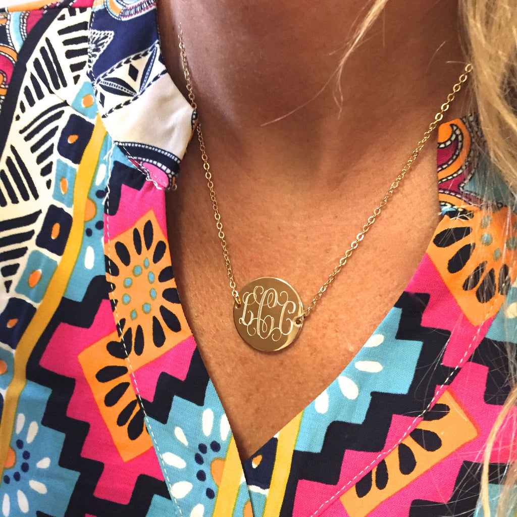 Monogram Disc Split Chain Necklace