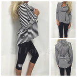 Monogram Striped Side Zipper Jacket