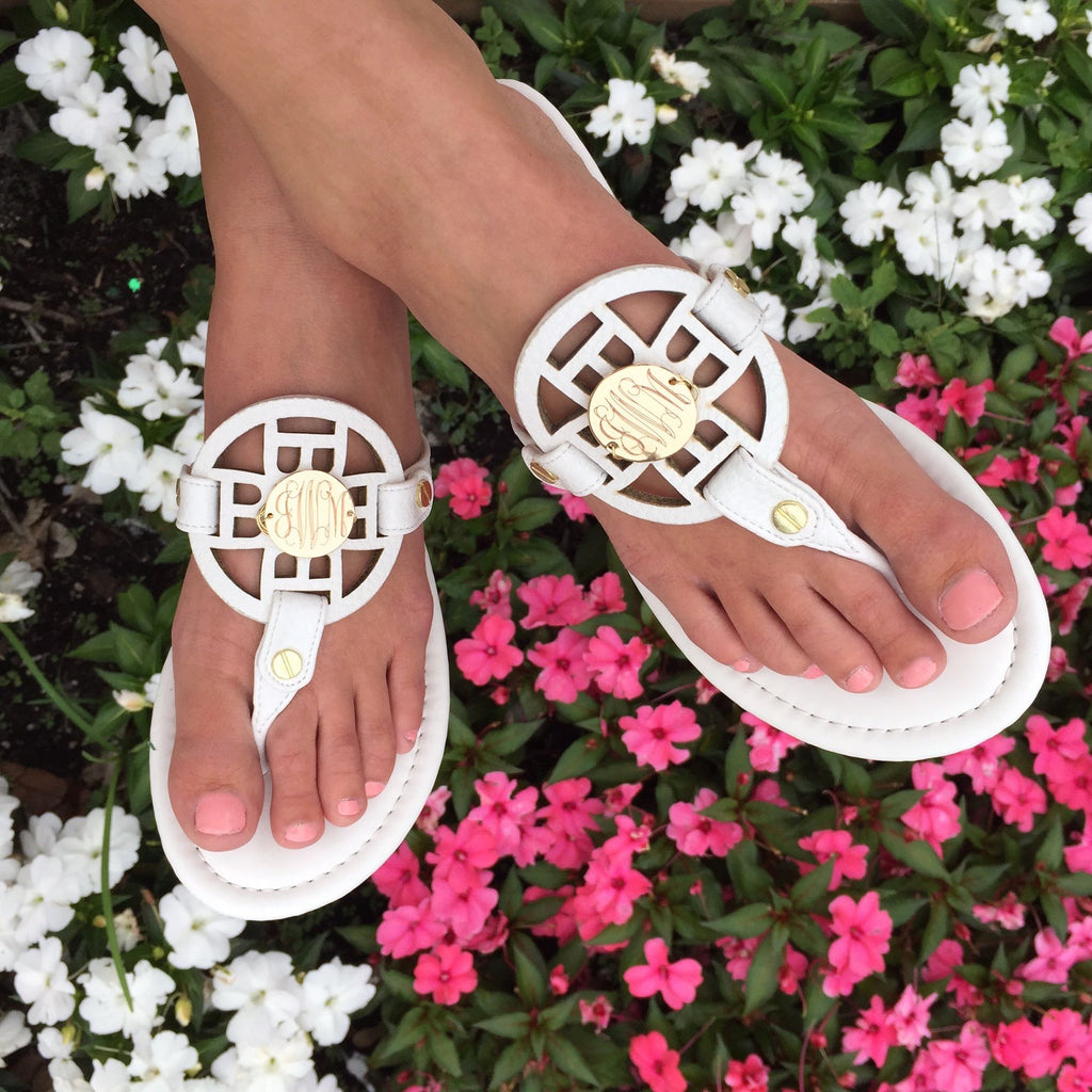 Monogram Circle Stitch Sandals - Shoes