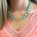 Monogram Aqua Crystal Eternity Necklace