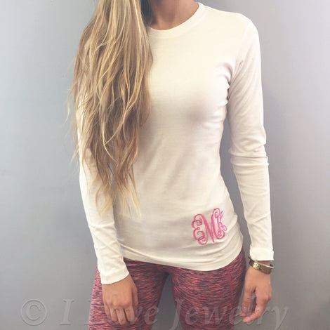 Monogram White Long Sleeve Shirt with Pink Embroidery
