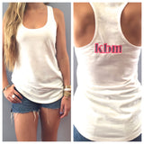 Monogram Racerback Tank Top - White with Multi
