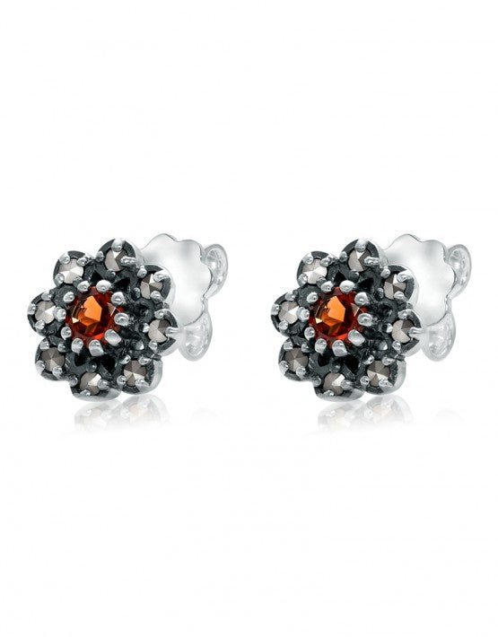 Small Marcasite Flower with Garnet