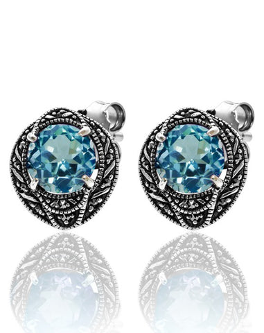 Blue Topaz studs with Oval Marcasite Halo