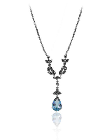 Ornate Filigree with Blue Topaz Necklace