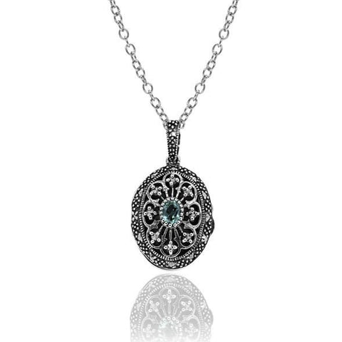 Blue Topaz & Marcasite Necklace