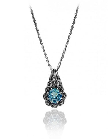 Blue Topaz & Marcasite Flower Necklace