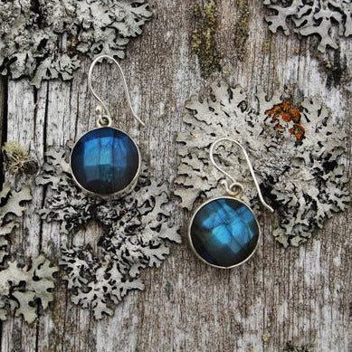Faceted Round Labradorite Drop Earrings